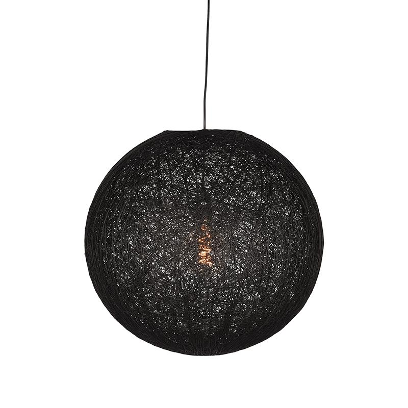 Hanglamp Twist Zwart Vlas 45x45x45 Cm Voorkant Aan 1