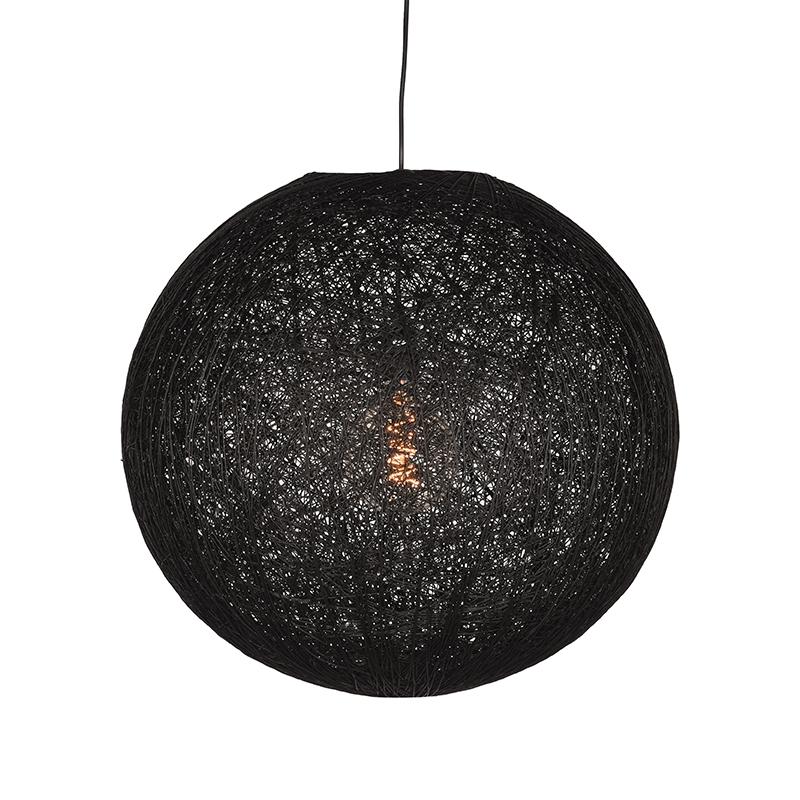 Hanglamp Twist Zwart Vlas 60x60x60 Cm Voorkant Aan 1