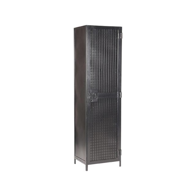 Hoge Kast Gate 1 Deurs Zwart Metaal 50x40x180 Perspectief