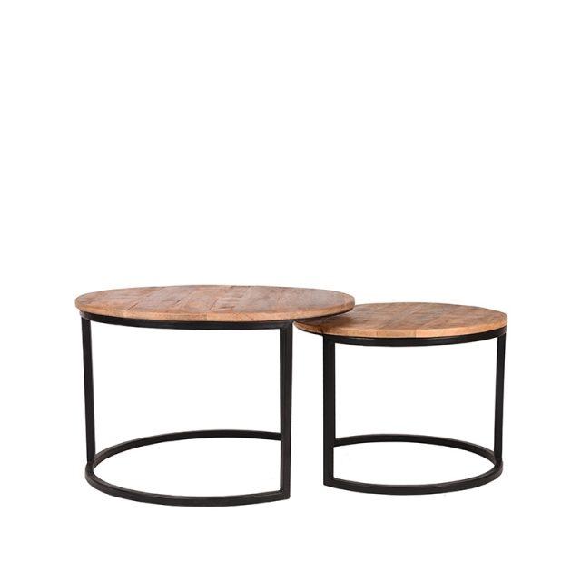 Salontafel Set Double Zwart Metaal Rough Mangohout 70x70x45 50x50x40 5 Cm Voorkant 2