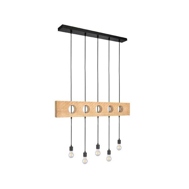 Hanglamp Timber Rough Mangohout Zwart Metaal 95x10x50 Cm Perspectief