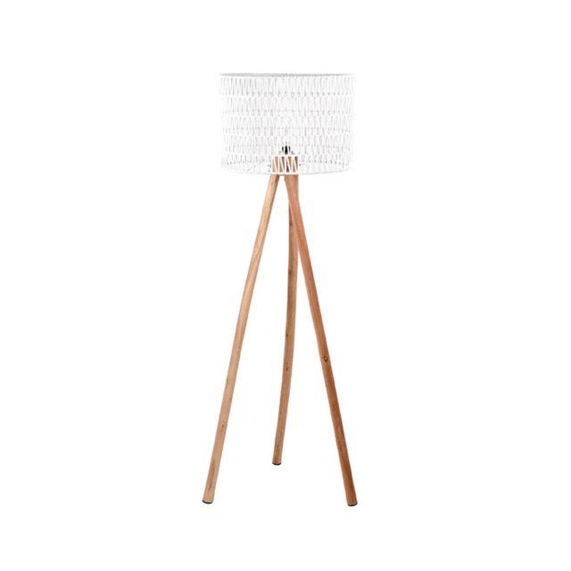 Vloerlamp Stripe Wit Katoen Naturel Mangohout 50x50x143 Cm Vooraanzicht 1