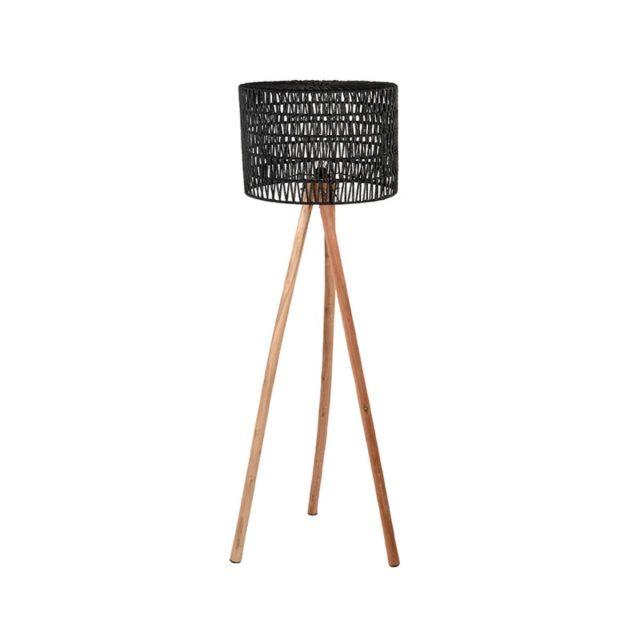 Vloerlamp Stripe Zwart Katoen Naturel Mangohout 50x50x143 Cm Vooraanzicht 1