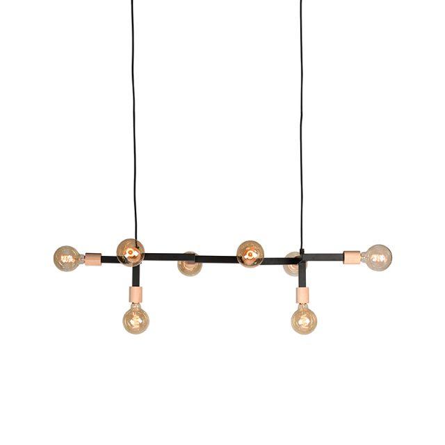 Hanglamp Loco Zwart Metaal Naturel Rubberwood 100x31x16 Cm Aan