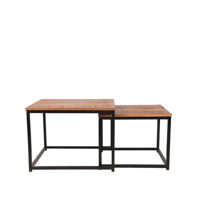 Salontafel Set Couple Zwart Metaal Rough Mangohout 60x60x45 50x50x40 Cm Voorkant 2
