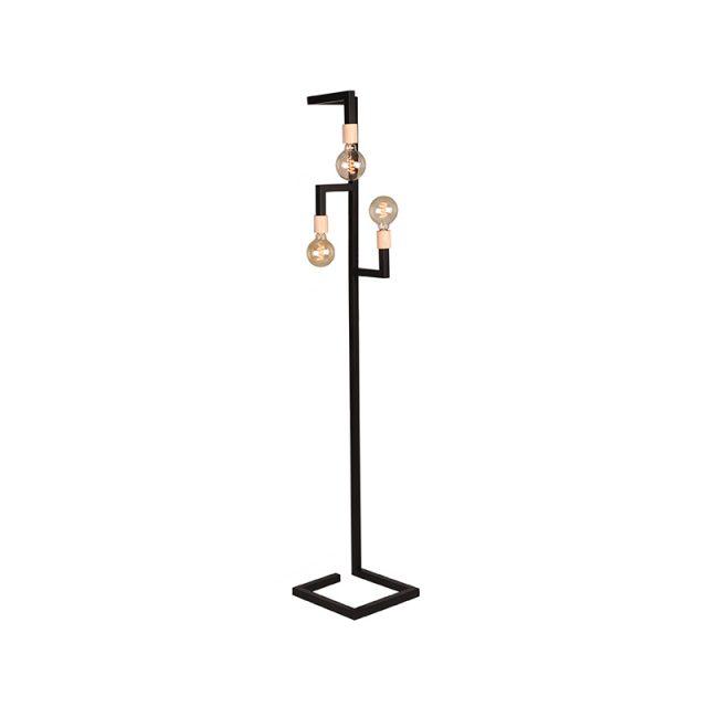 Vloerlamp Loco Zwart Metaal Naturel Hout 30x30x165 Cm Perspectief Aan