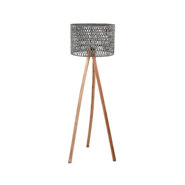 Vloerlamp Stripe Grijs Katoen Naturel Mangohout 50x50x143 Cm Vooraanzicht 1