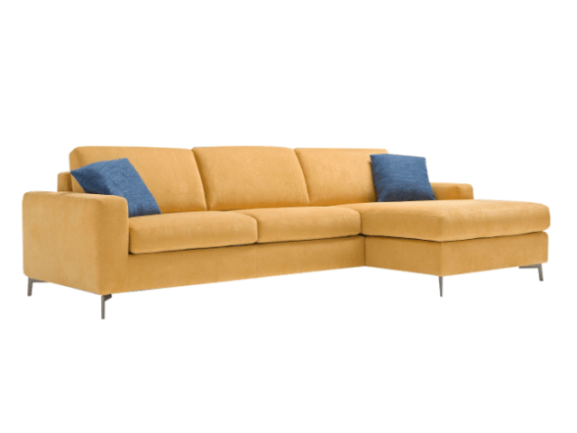 Lisbona sofa bed with longchair with storage compartment at the front right