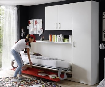 Wall bed Space Horizontal 1 Person With Desk Half Open 2