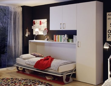 Wall bed Space Horizontal 1 Person With Desk Open 2
