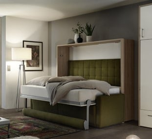 Wall bed Space Horizontal With Bench Open 2
