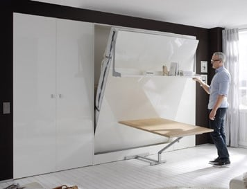 Wall bed Space With Table Half Open 2