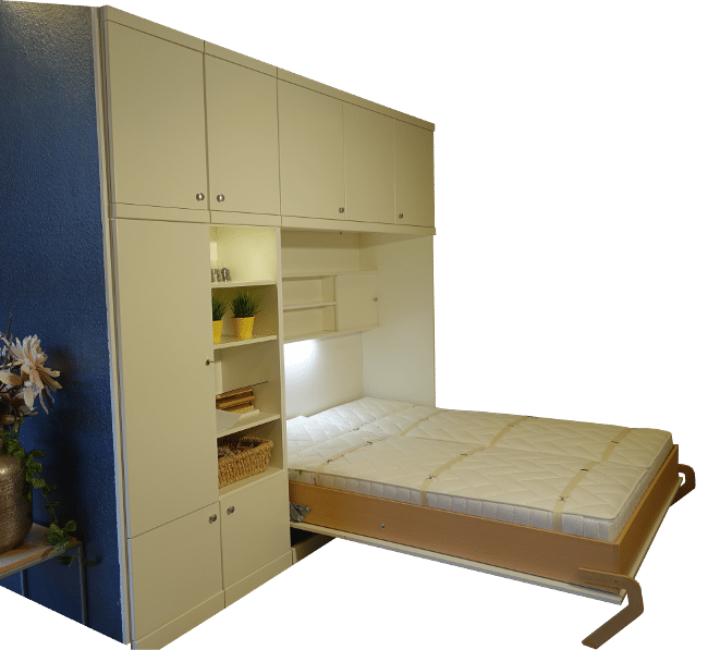 When the bed of the BredaNova Rivatop wall bed is folded out, there is an extra cupboard with sliding doors in the wall bed.