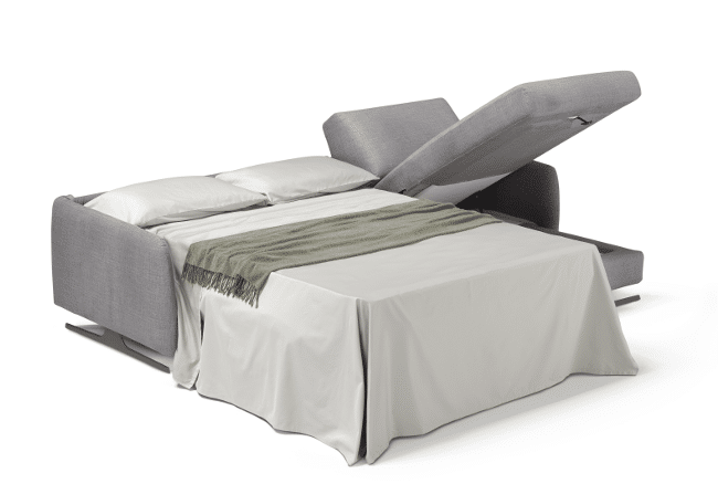 Corner sofa bed Selo with folded bed and open storage compartment