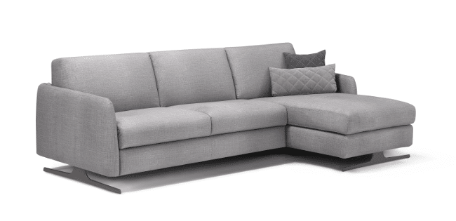 Corner sofa bed Selo with longchair with storage compartment at the front right