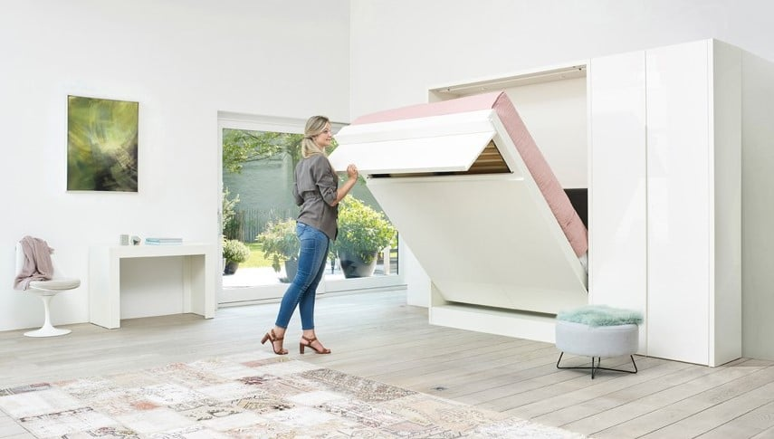 The Loft wall bed can be easily unfolded.