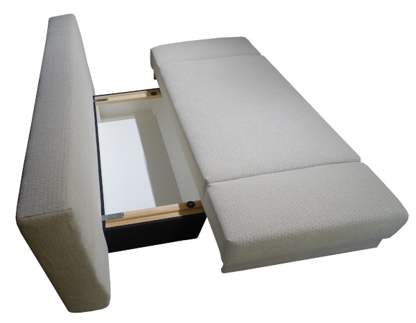 Here you can see the storage compartment of the Jenny sofa bed