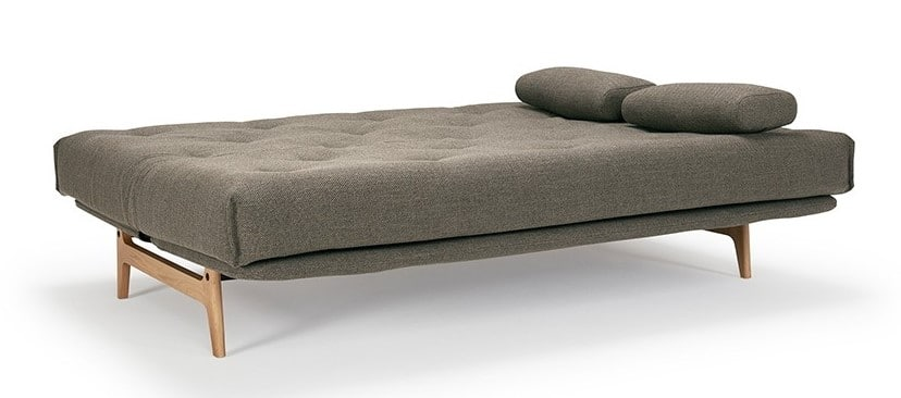 Sofa bed Aslak folded out as a bed with 2 pillows
