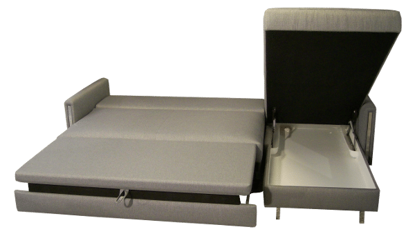 There is a very spacious storage compartment in the longchair of the corner sofa-bed Chris