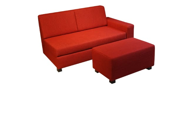 Minnie sofa bed with 130 cm bed. and loose pouffe
