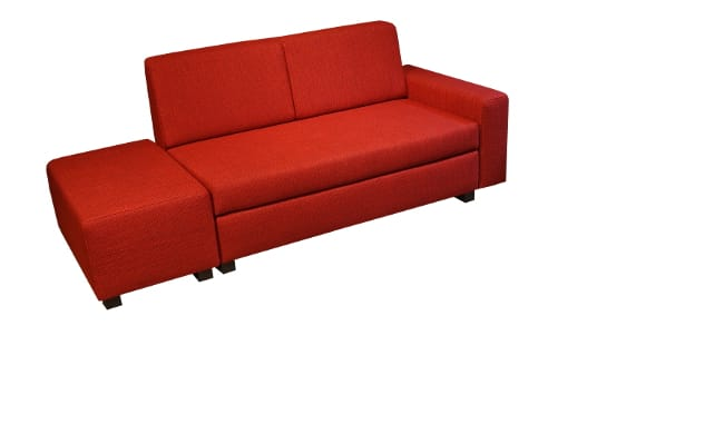 Minnie sofa bed with separate ottoman right next to the sofa