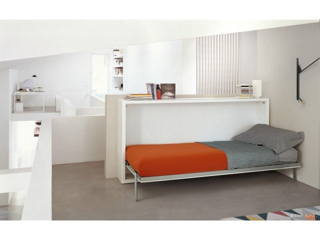 Wall bed or folding bed Poppi with folded bed in the room