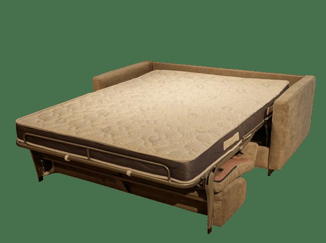 Slaapbank Stanley uitgeklapt als bed met een matras van 16 cm. dik