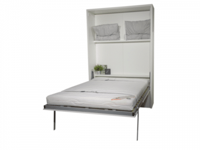 The wall bed Murphy folded out as a bed. The drawers under the bed ensure that the bed is at a pleasant height
