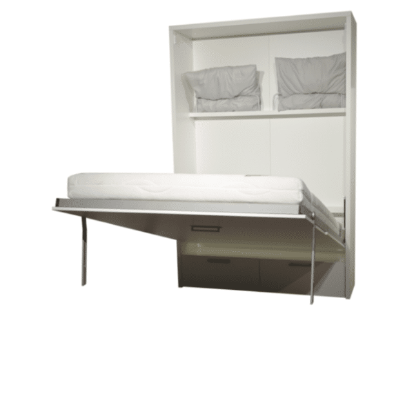 the wall bed Murphy half open. The pillows can also be stored in this version.