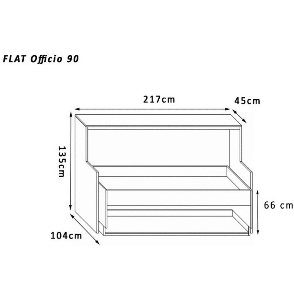 the dimensions of the wall bed Flat Officio 90x200 cm. can be viewed here
