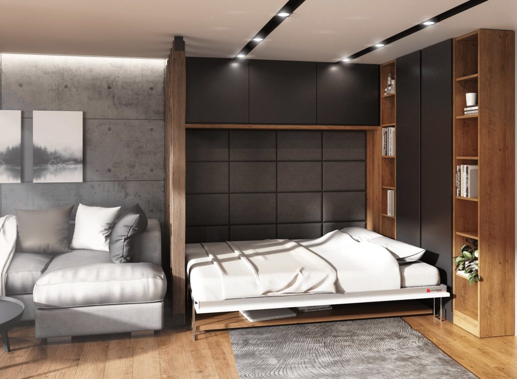 Horizontal wall bed with desk when the bed is open, a handy space-saving solution