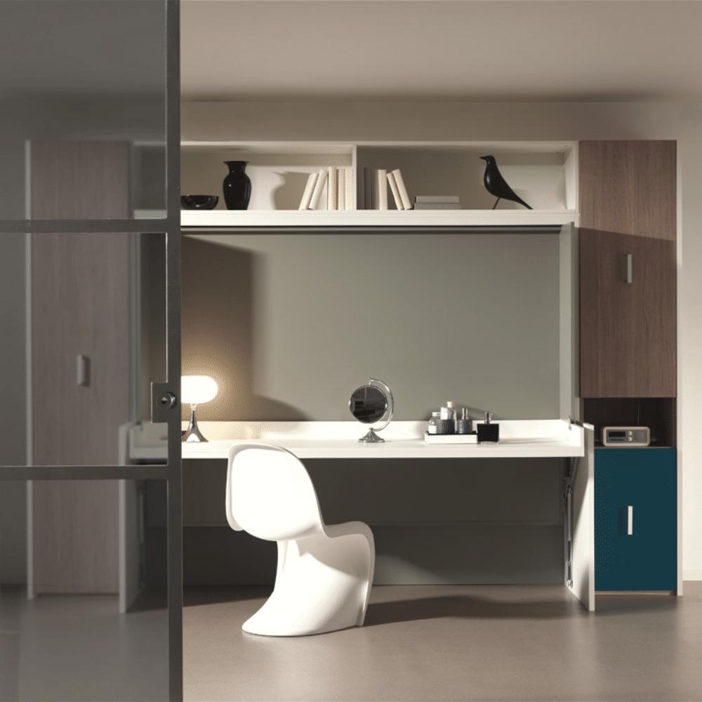 De bedkast Flat Officio140 x 200 in de thuiswerk positie