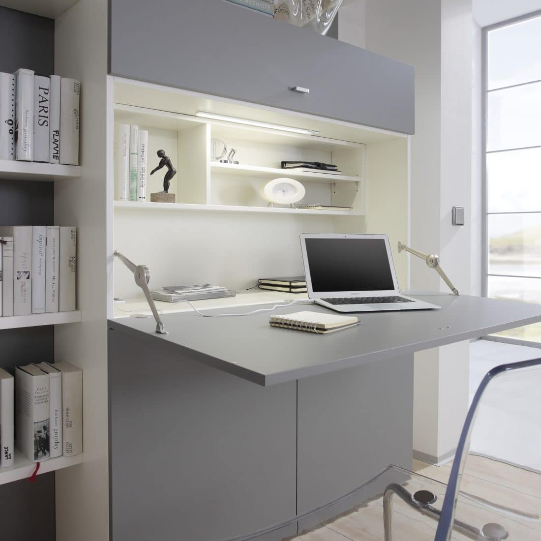 Collapsible desk Space with a fold-out desk provides a neat and tidy workplace. Ideal for working from home in a small space
