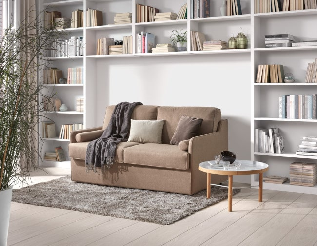 The very compact Piccolino sofa bed with a 140x200 cm bed.