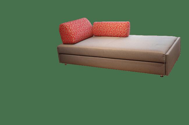 Slaapbank Maxxi-Zoom met 1 rugkussen en 1 zijkussen als een soort daybed