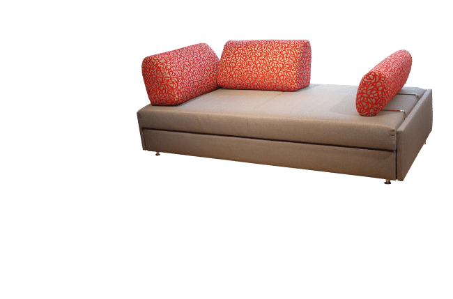 Maxxi-Zoom sofa bed with 2 back cushions placed in a corner