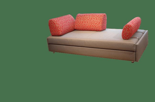 Slaapbank Maxxi-Zoom met 2 rugkussens in een hoek geplaatst