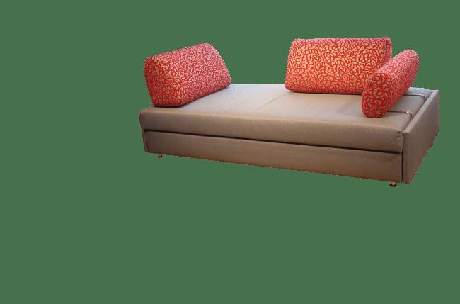 Slaapbank Maxxi-Zoom met 2 rugkussens en één zijkussen anders neergezet