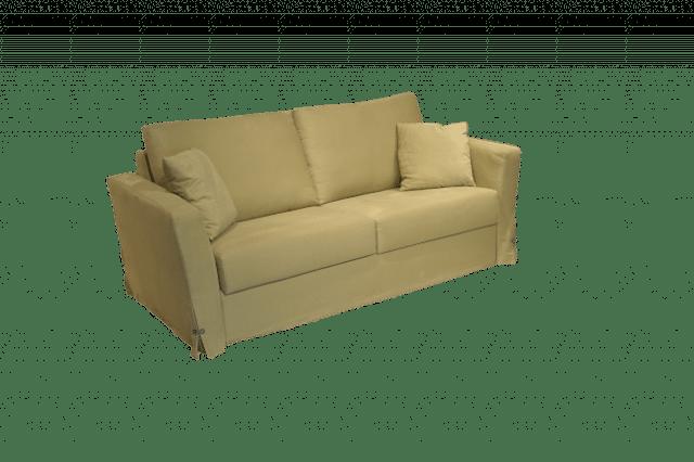 De slaapbank Free in een groene katoenen stof