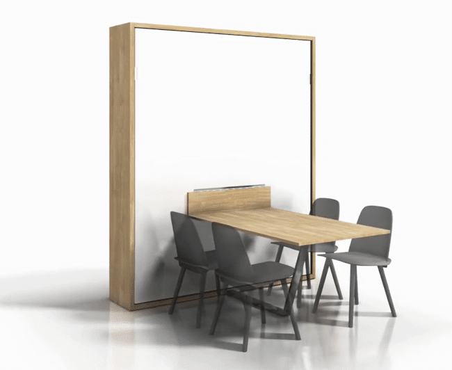 A spacious table is possible with this wall bed