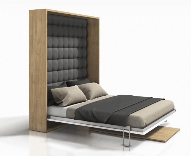 Wall bed or folding bed folded out as a bed