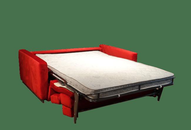 De slaapbank Duo uitklapt tot riant bed met het comfort plus mechaniek