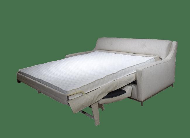 De uitgeklapte versie van de slaapbank charme met zeer comfortabel bed