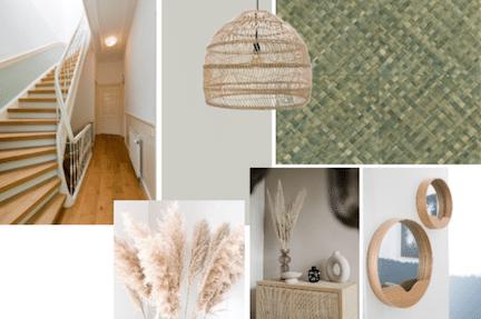 stylen van de hal,natuurlijk interieur,scandinavisch interieur,eco interieur,duurzaam interieur,styling tips hal,rotan hal,stairz traprenovatie