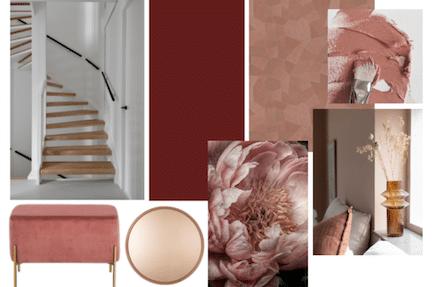 stylen van de hal,romantische hal,chique interieur,roze interieur,terra interieur,styling tips hal,moodboard hal,hal inrichten,stairz traprenovatie