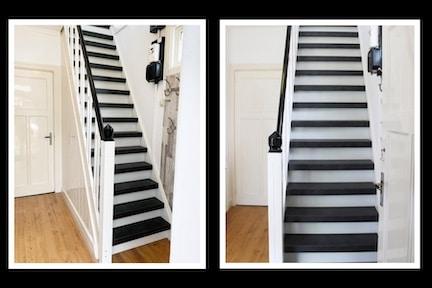 zwarte trap,stairz traprenovatie,trap renoveren,strakke trap,traprenovatie zwart,granieten overzettreden,granieten traprenovatie,wit met zwarte trap,jaren 30 trap,klassieke trap,stairz traprenovatie