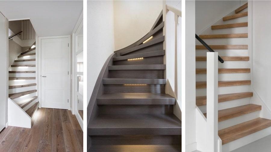 houten trap renoveren,houten trap opknappen,mooie trap,houten trap met verlichting,stairz traprenovatie