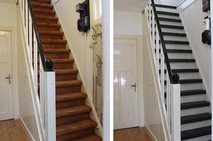 tapijt op trap,stairz traprenovatie,vloerbedekking op trap,trap bekleden met vloerbedekking,trap renoveren,vloerbedekking of hout op de trap,traprenovatie,houten trap,trap metamorfose,trap inspiratie,nieuwe trap,trap jaren 3 woning