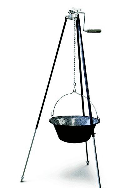 Driepoot Set 170 Cm Met Telescopische Takel En 13 Liter Heksenketel