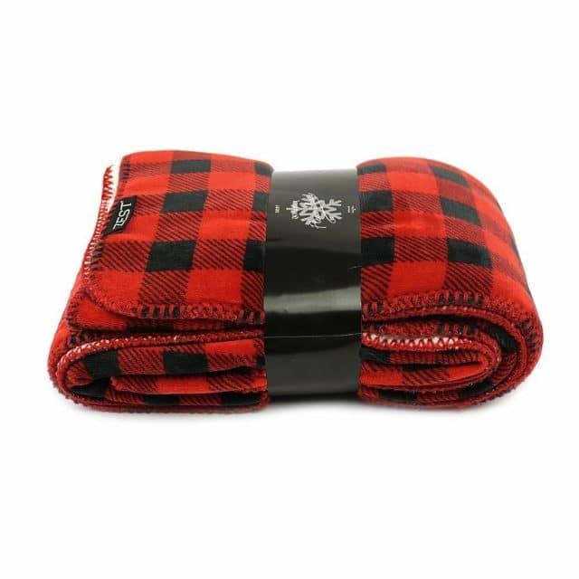 Fleece plaid geruit Rood/zwart met vacht